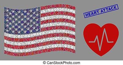 usa, crise cardiaque, timbre, cardiologie, stylisé, drapeau,...