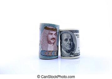 United States currency with Bahraini currency on an isolated background