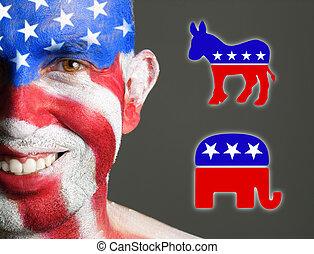 usa, démocrate, figure, symboles, drapeau, républicain, homme