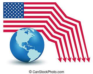 USA Default. Global Financial crisis vector concept
