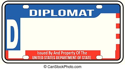 USA Diplomatic License Plate Blank