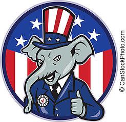 usa, do góry, bandera, kciuki, słoń, republikanin, maskotka