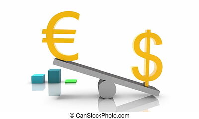 USA dollar and Euro signs on seesaw