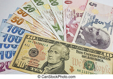 USA dollar and Turkish Lira banknotes