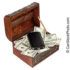 USA Dollars - USA dollars in box with cell phone, isolated...