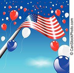 usa, drapeau américain, ballons, jour, indépendance
