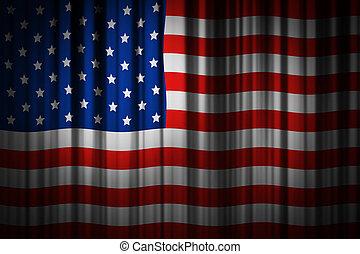 usa, drapeau américain, conception, fond, rideau, étape