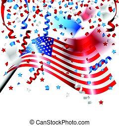 usa, drapeau américain, confetti, jour, indépendance