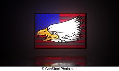 usa., eagle., nationales symbol, fahne