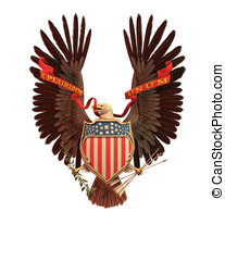 USA Eagle Symbol - Eagle holding a red, white and blue...