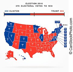 accurate correct usa editable 2016 electorial college map with separated states vector