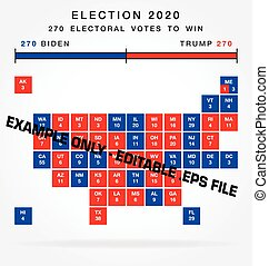 usa editable 2020 electorial college map squares vector