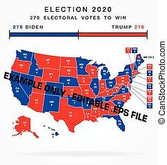 usa editable 2020 electorial college map vector