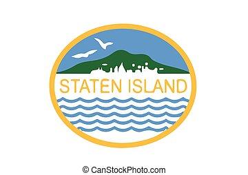 usa., eiland, formaat, staten, vlag, vector, new york