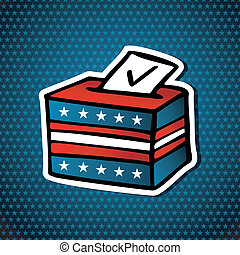 USA elections Ballot Box sketch style icon over blue stars background. Vector file layered for easy manipulation and custom coloring.