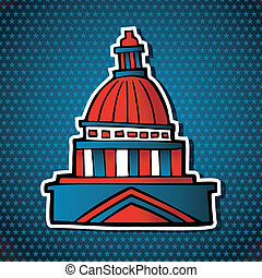 USA elections capitol building sketch icon - USA elections...