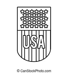 usa elections flag emblem line style icon vector ...