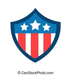 usa elections flag in shield flat style icon vector ...