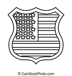 usa elections flag in shield guard line style vector ...
