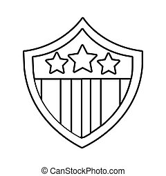 usa elections flag in shield line style icon vector ...