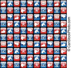 USA elections glossy internet icons pattern - USA elections...