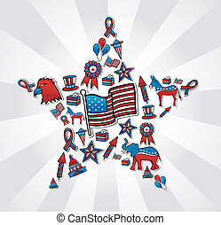 USA elections icon set in star