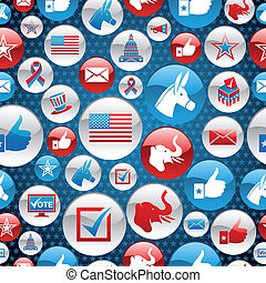 USA elections icons glossy buttons pattern