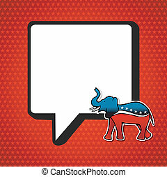 USA elections Republican politic message in sketch style over red stars background. Vector file layered for easy manipulation and custom coloring.
