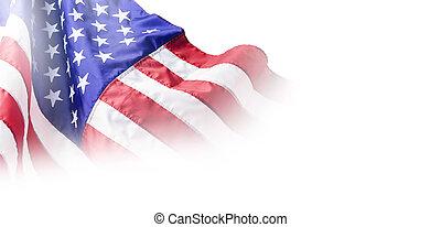 usa, eller, amerikan flagga, isolerat, vita, bakgrund, med,...