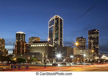 usa, en ville, texas, valeur, night., fort