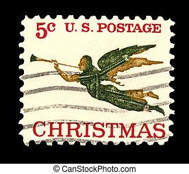 usa, engel, 1965, postzegel, trompet, kerstmis