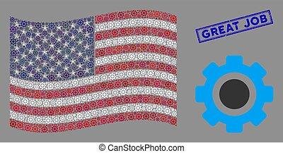 usa, engrenage, collage, métier, grand, cachet, drapeau, textured