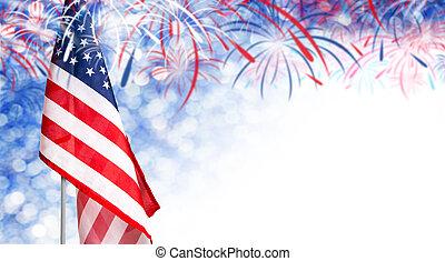 usa, espace, drapeau, jour, bokeh, feud'artifice, 4, fond, juillet, copie, autre, indépendance, célébration