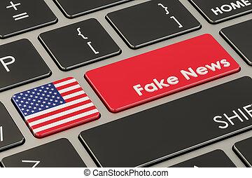 USA fake news button, key on keyboard. 3D rendering