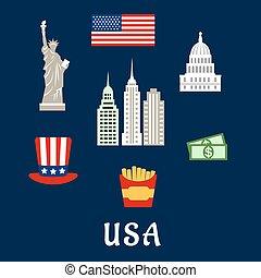 USA famous architecture and culture symbols concept