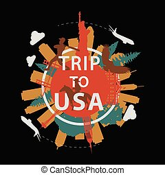 USA famous landmark silhouette overlay style around text, vintage design, vector illustration