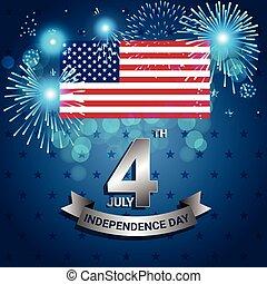 usa, feud'artifice, jour, drapeau, américain, indépendance