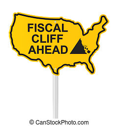 USA fiscal cliff road sign, 3d render