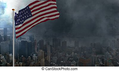 USA flag against storm in big city