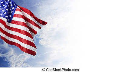 USA flag and blue sky with cloud background