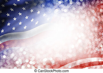 USA flag and bokeh background with copy space for 4 july...