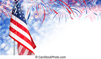 USA flag and bokeh background with firework and copy space for 4 july independence day and other celebration