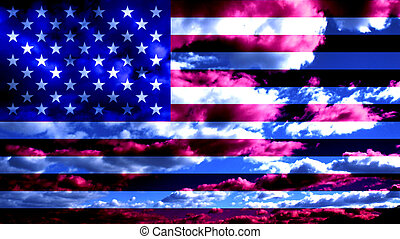 USA Flag and Clouds Design