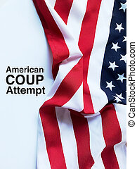 USA flag and coup attempt words