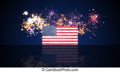 USA flag and fireworks on background