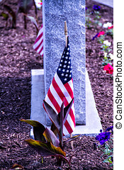 USA Flag and Grave