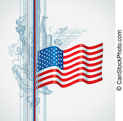 Usa flag and hand drawn american symbol