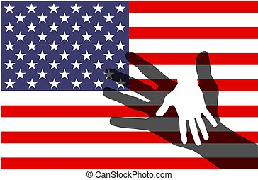 USA Flag and hand