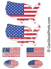 USA flag and map