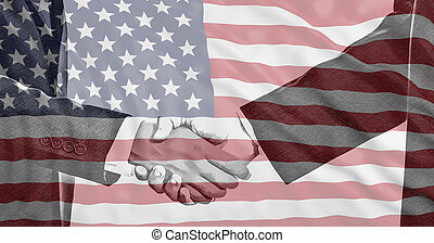 USA flag and men hands shaking background.
